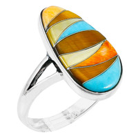Multi-Gemstone Ring Sterling Silver R2027-C41