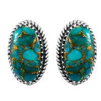 Matrix Turquoise Earrings Sterling Silver E1297-C84