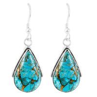 Matrix Turquoise Earrings Sterling Silver E1298-C84