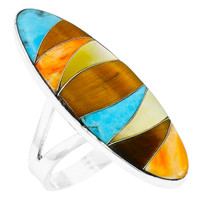 Multi-Gemstone Ring Sterling Silver R2440-C41
