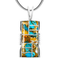 Spiny Turquoise Pendant Sterling Silver P3044-LG-C89