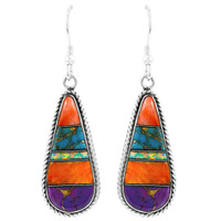 Multi Gemstone Drop Earrings Sterling Silver E1299-C00