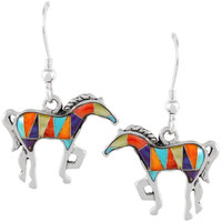 Sterling Silver Horse Earrings Multi Gemstones E1054-C01