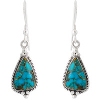 Sterling Silver Earrings Matrix Turquoise E1065-C84