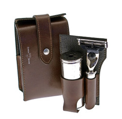 Edwin Jagger Leather Travel Shaving Kit in Brown