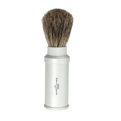 Edwin Jagger Travel Shaving Brush Best Badger Silver Aluminum
