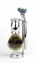Edwin Jagger Bulbous Chrome Three-Piece Luxury Shaving Set