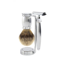 "Edwin Jagger Bulbous Collection ""Lined"" Three-Piece Luxury Shaving Set"