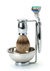 """Edwin Jagger Bulbous """"Lined"""" Four-Piece Luxury Shaving Set with Mach 3"""