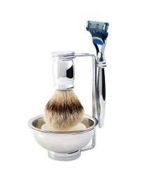 Edwin Jagger Bulbous Chrome Four-Piece Luxury Shaving Set with Gillette Fusion