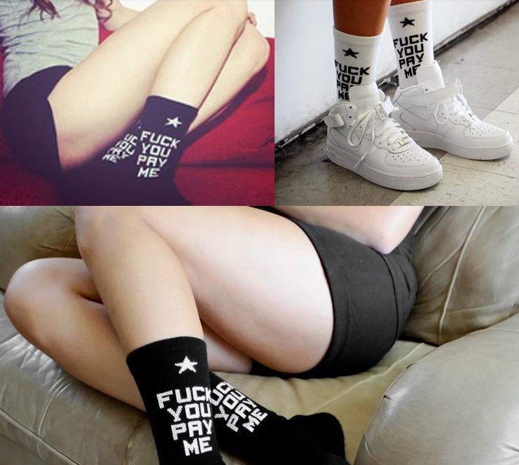 SSUR Fuck You Pay Me Socks in White, Black & Red