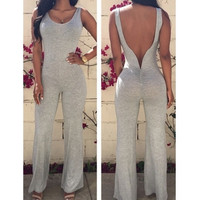 Backless Solid Grey One-piece Sleeveless Jumpsuit