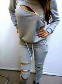 Sexy Front Zipper Women Sport Tracksuit Top and Pant Set