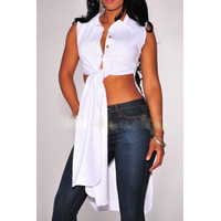 BrytCouture Sleeveless Front Tied Asymmetrical Solid White Shirt
