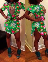 Brytcouture Short Sleeves Floral Print Mini Green Dress