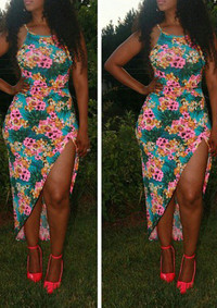 BrytCouture Sexy Spaghetti Strap Floral Print Asymmetrical Maxi Dress