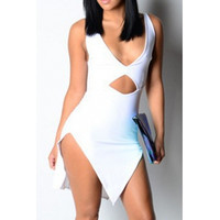 BrytCouture Backless Cut-out Asymmetrical White Blending A Line Mini Dress