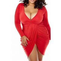 BrytCouture Sey Plus Size V Neck Ruffles Design Asymmetrical Mini Dress - Red