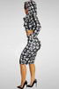 Long Sleeves BOSS Print Black Two-piece Skirt and Top Set