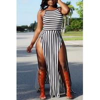 Spaghetti Strap Striped Women Maxi Dress