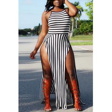 Spaghetti Strap Striped Women Maxi Dress