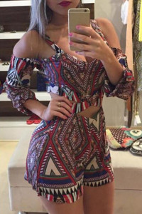 Sexy V Neck Long Sleeves Geometric Print Polyester One-piece Regular Jumpsuit
