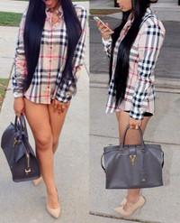 Buy Boy friend Style Turndown Collar Long Sleeves Plaid Shirt