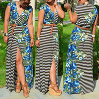 BrytCouture Front Split Floral Print Polyester Maxi Dress