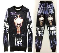 Tupac Thug Life Unisex Jogger Sweatpants and Sweatshirt Set