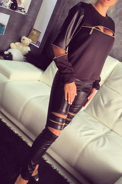 Sexy Long Sleeves PU Patchwork Zipper Design Black Spandex Pullover Sweat Set