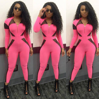 BrytCouture Mesh Patchwork Rose Polyester One-piece Skinny Jumpsuit