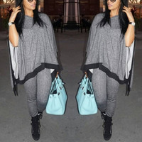 Casual Half Sleeves Patchwork Grey Polyester Two-piece Pullover Sweat Set (Loose Top + Pants )