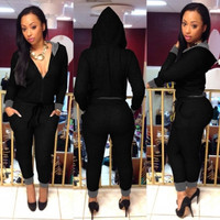 BrytCouture V-Neck Design One Piece Draw String Hooded Black Jumpsuit