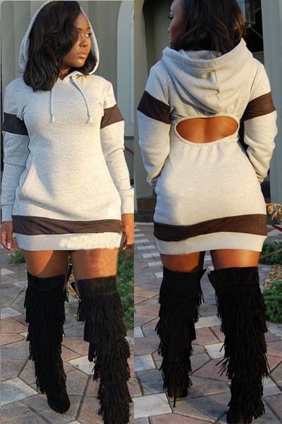 Casual Long Sleeves Grey Cotton Blend Hooded Mini Women Dress