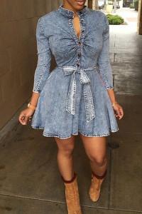 BrytCouture Sassy O Neck Blue Blending Mini Women Dress