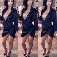 BrytCouture Sexy Asymmetrical V Neck Design Satin Mini Dress - Black