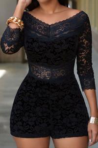 V Neck Design Three Quarter Sleeves Lace Overlay Black Skinny Romper