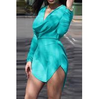 BrytCouture Sexy Asymmetrical Design Long Sleeves V-Neck Mini Dress - Green