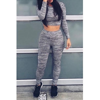 Casual O Neck Long Sleeves Grey Knitting Two-piece Pant and Top Set