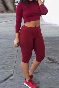 Casual O Neck Long Sleeves Red Polyester Two-piece Shorts Set