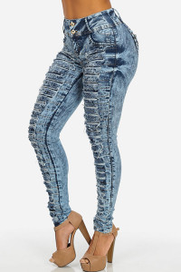 BrytCouture Mid Waist Button Fly Blue Denim Skinny Pants