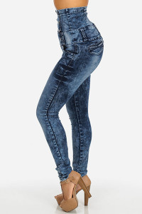 BrytCouture High Waist Button Fly Blue Denim Skinny Pants