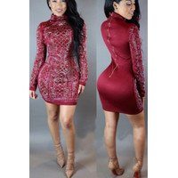 Mandarin Collar Long Sleeves Red Polyester Knee Length Dress