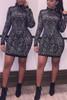 Mandarin Collar Long Sleeves Black Polyester Knee Length Dress
