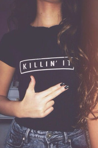 Killin' It Short Sleeves Black Cotton Blend T-shirt