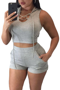 BrytCouture Stylish Hooded Sleeveless Lace-up Polyester Two-piece Shorts Set