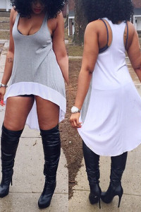 Casual Sleeveless Grey And White Asymmetrical Cotton Blend A Line Mini Dress