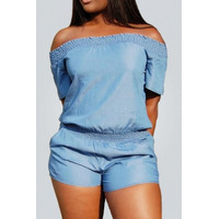 BrytCouture Bateau Neck Blue Denim Jumpsuits