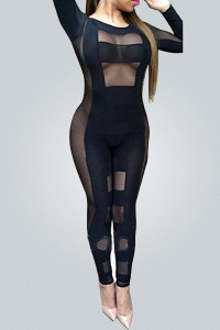 Sexy Round Neck Long Sleeves See-Through Gauze Patchwork Black Spandex One-piece Skinny Jumpsuits