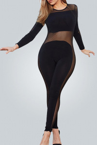 Sexy Round Neck Long Sleeves See-Through Gauze Patchwork Black Qmilch One-piece Skinny Jumpsuits